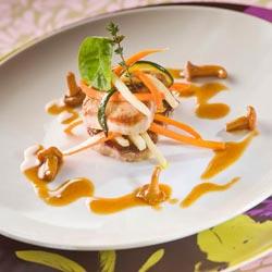 Millefeuille de veau, petits légumes aux senteurs de cumin