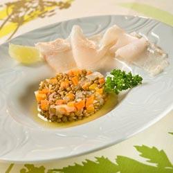 Salade de lentilles blondes de Saint-Flour et carpaccio de sandre