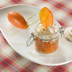 Émulsion de chabrirou, concassée de tomate au basilic, sorbet tomate