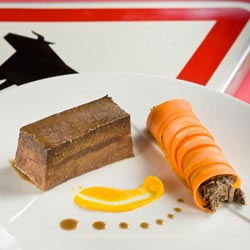 La joue de bœuf salers confite et la carotte bio