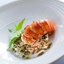 Queue de homard snackée, taboulé de lentilles vertes du Puy