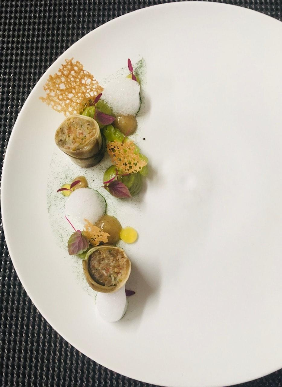 Bouillon de poularde et châtaignes Mousse au céleri | Louis-Bernard Puech